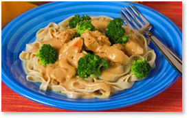 Home Bistro Fettuccine and Chicken with Peanut Sauce